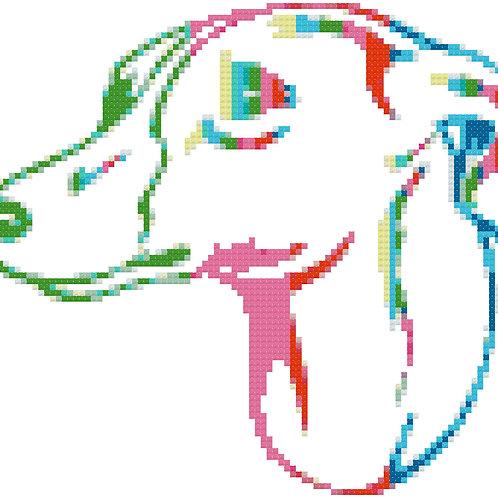 Whippet Rainbow Portrait cross stitch