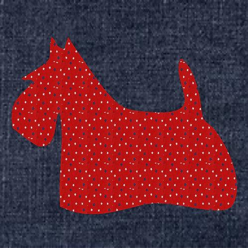 Scottish Deerhound Applique Patriotic Pillow