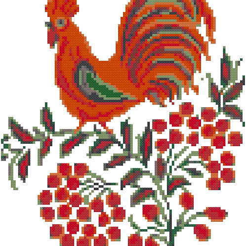 Rooster on Branch cross stitch