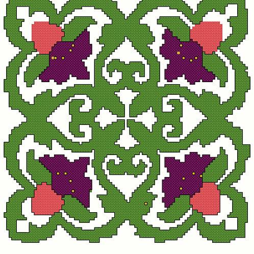 Floral Quilt Square cross stitch