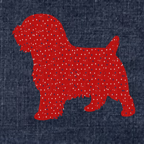 Norfolk Terrier Applique Patriotic Pillow