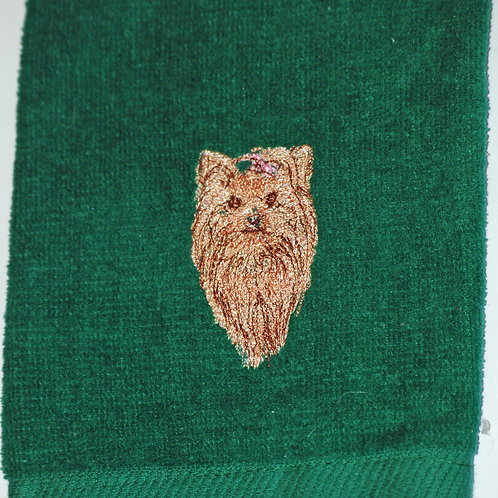 Yorkshire Terrier Embroidered Guest Towel