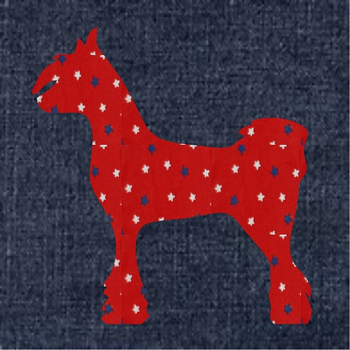 Chinese Crested Dog Applique Patriotic Pillow