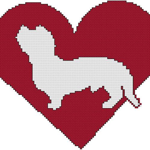 Dandie Dinmont Terrier in Heart cross stitch
