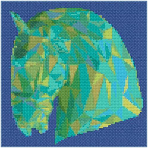 Polygonal Horse Portrait cross stitch