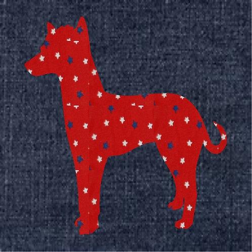 Peruvian Hairless Dog Applique Patriotic Pillow