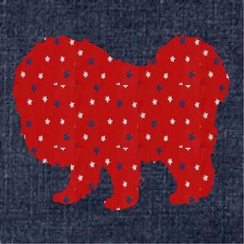 Tibetan Mastiff Applique Patriotic Pillow