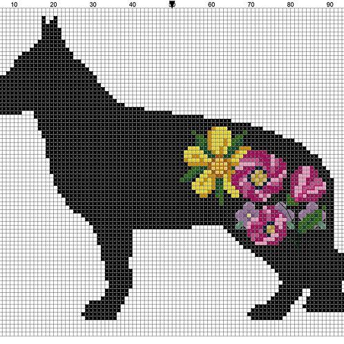 German Shepherd with Flowers