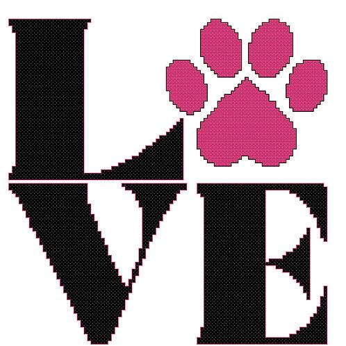 Love with Paw cross stitch