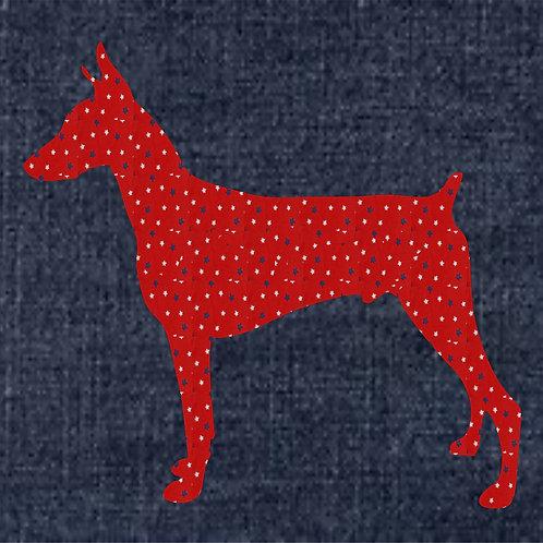 Doberman Pinscher Applique Patriotic Pillow