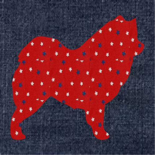 Samoyed Applique Patriotic Pillow
