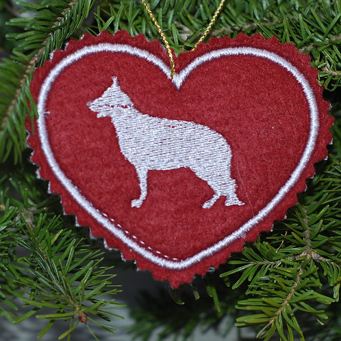German Shepherd Embroidered Heart Ornament