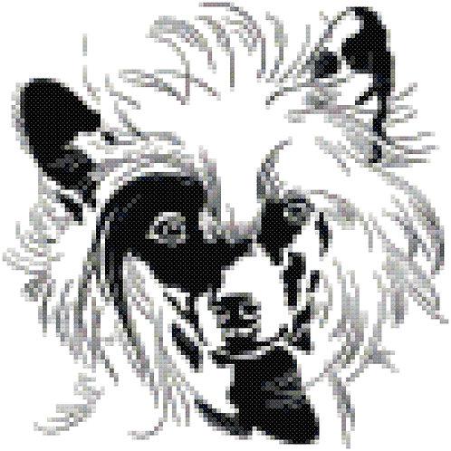 Chinese Crested Modern Portrait cross stitch