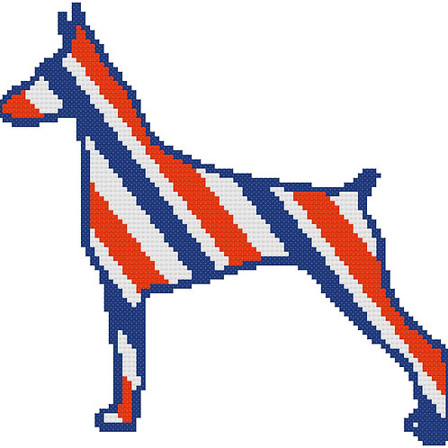 German Pinscher in Red, White, and Blue Cross Stitch