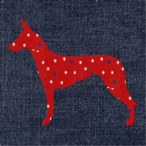 Pharaoh Hound Applique Patriotic Pillow