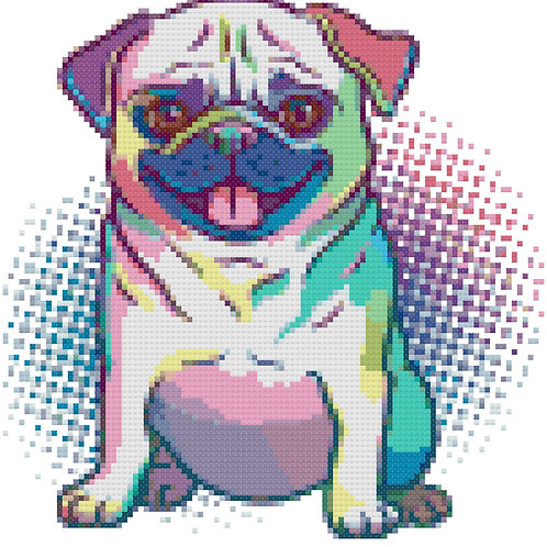 Pop Art Pug cross stitch