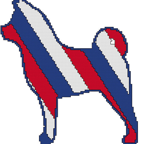 Akita in Red, White, and Blue cross stitch