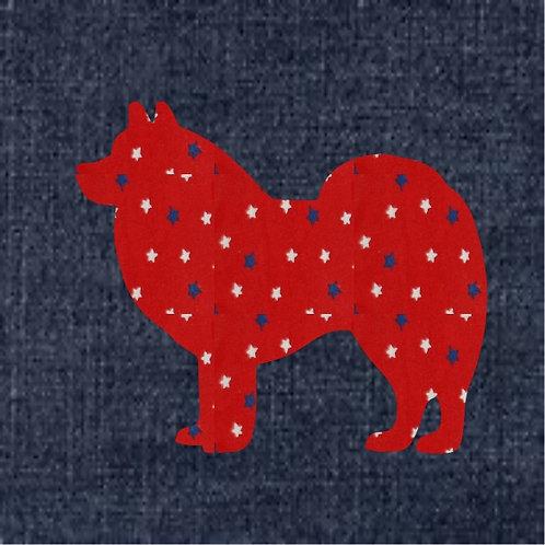 America Eskimo Dog Applique Patriotic Pillow