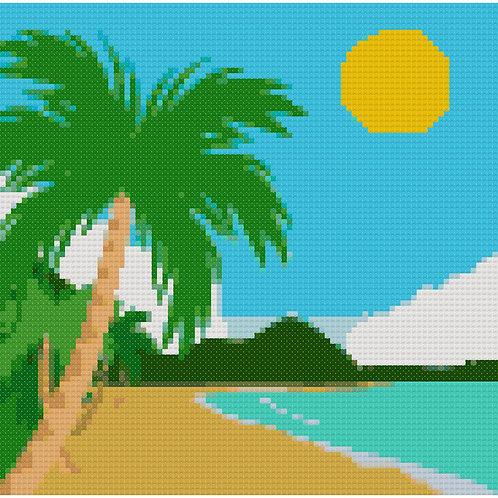Tropical Beach Cross Stitch Pattern Download