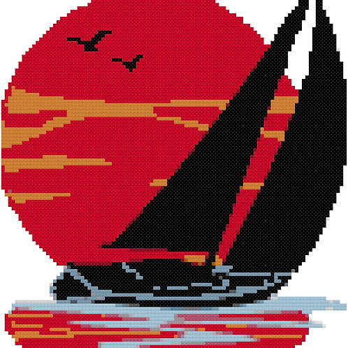 Sailboat with Sun Cross Stitch Pattern