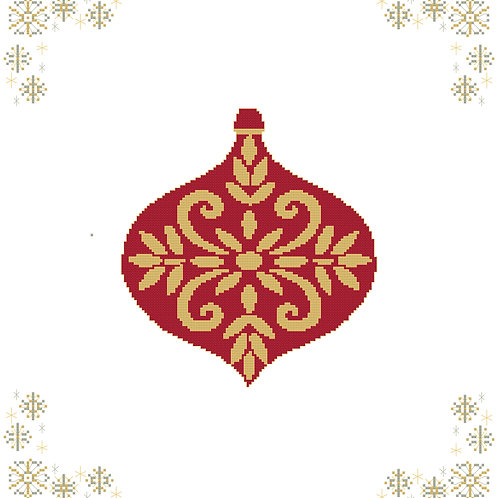 Christmas Ornament in Red and Gold