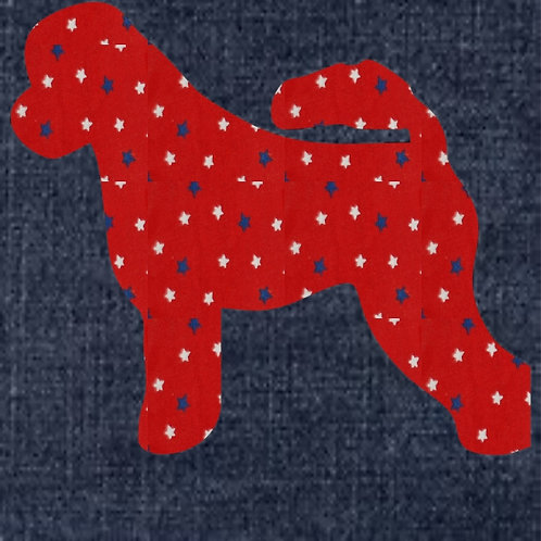 Portuguese Water Dog Applique Patriotic Pillow