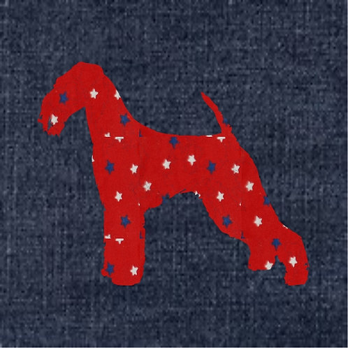 Airedale Terrier Applique Patriotic Pillow