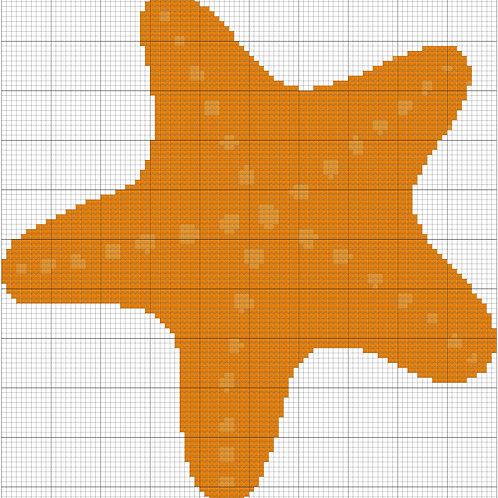 Orange Starfish cross stitch
