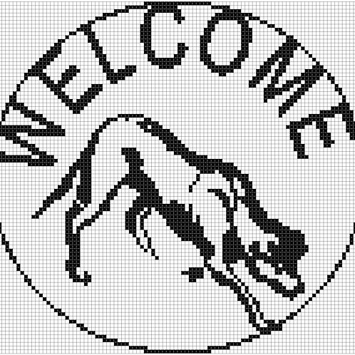 Border Collie Crouching Welcome cross stitch