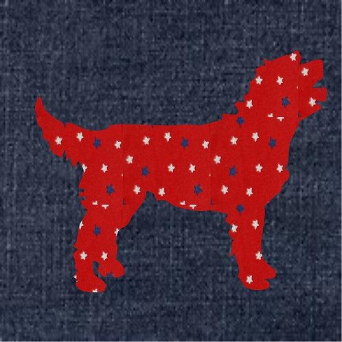 Labradoodle Applique Patriotic Pillow