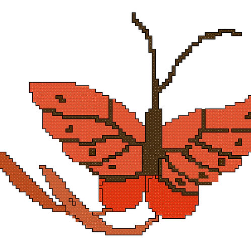 Abstract Orange Butterfly Cross Stitch