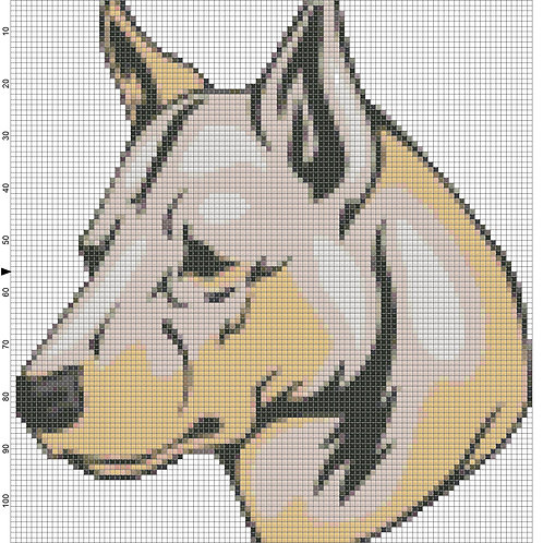 Canaan Dog Portrait cross stitch
