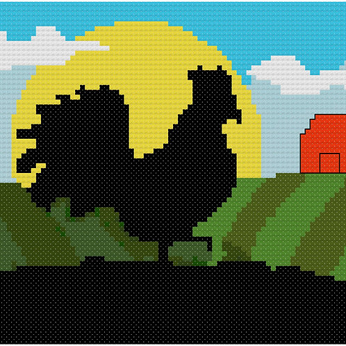 Rooster on Farm cross stitch