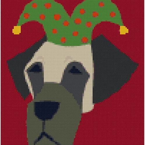 Great Dane Christmas Portrait cross stitch