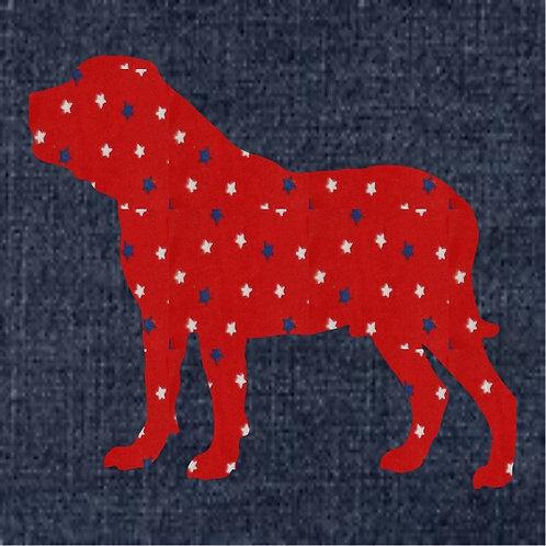 Mastiff Applique Patriotic Pillow