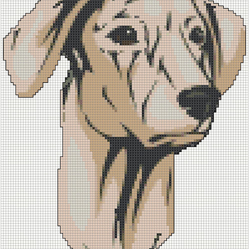 Sloughi Portrait cross stitch