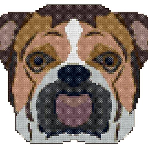 English Bulldog Portrait Cross Stitch Pattern