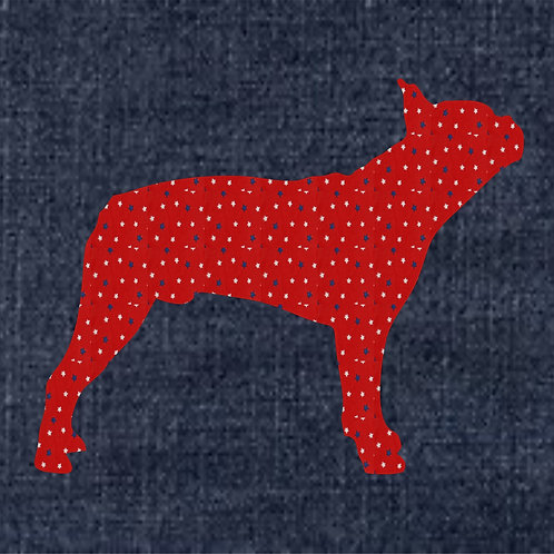 Bull Dog Applique Patriotic Pillow