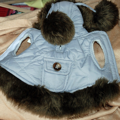 "Grey Parka with ""Fur"" Trim and Pom Poms"