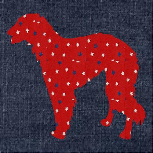 Borzoi Applique Patriotic Pillow