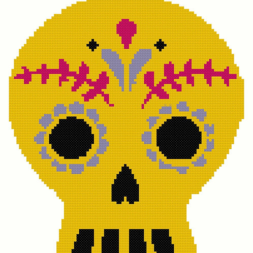 Day of the Dead Yellow Skull