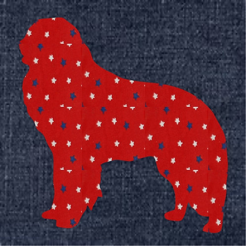 Kuvasz Applique Patriotic Pillow