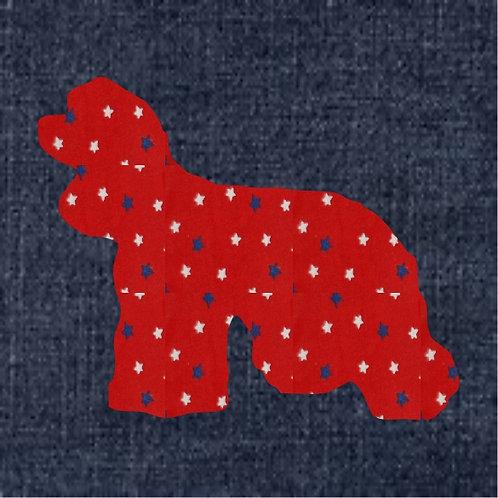 American Cocker Spaniel Applique Patriotic Pillow