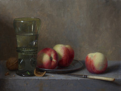 Peaches with Green Glass