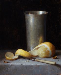 Silver Tumbler and Lemon