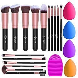 BESTOPE Makeup Brushes 16PCs Makeup Brushes Set with 4PCs Beauty Blender Sponge and 1 Brush Cleaner