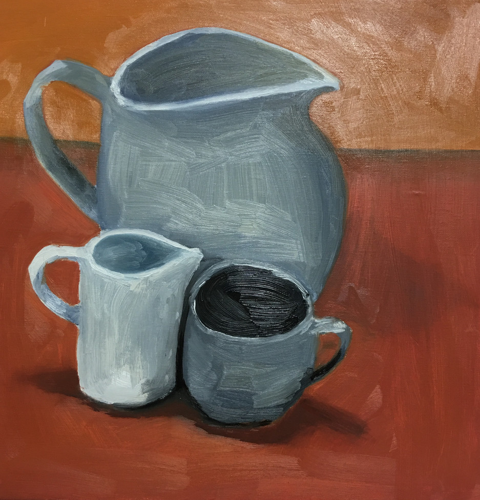 Two jugs and a cup
