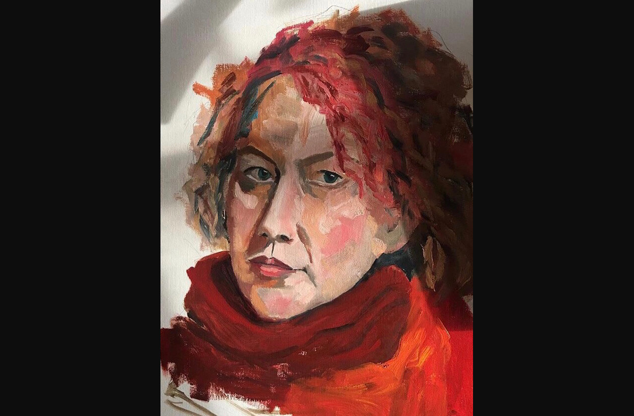 Self-portrait with scarf
