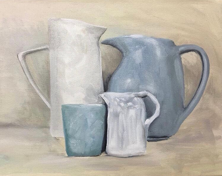 White and blue jugs