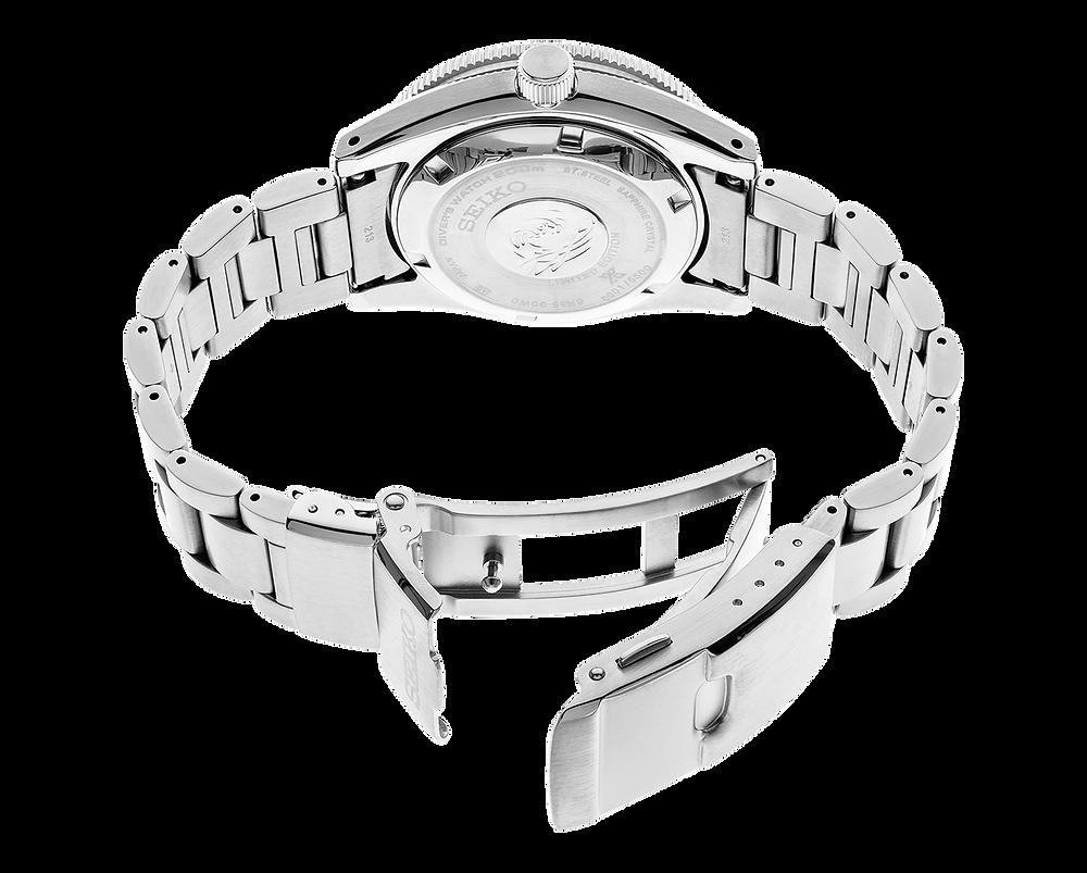 reloj seiko, detalle armis acero con cierre triple modelo SPB149 Prospex 20MAS